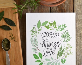 Herbs Illustration, Season all Things with Love, Farmhouse decor, Mother's Day Gift, Homemade,  Kitchen Art, Kitchen Decor, Cooking, Spices