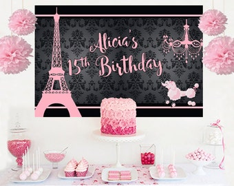 Paris Dream Personalized Backdrop - Birthday Cake Table Backdrop Birthday- Eiffel Backdrop, Custom Backdrop
