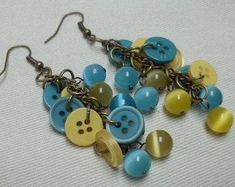 turquoise/yellow button earrings,button earrings,turquoise/yellow cats eye bead earrings,turquoise/yellow earrings,cats eye bead earrings