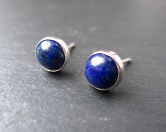 Lapis Lazuli Earrings- Lapis Lazuli Studs, Lapis Lazuli Stud Earrings, Silver Studs, Gemstone Jewellery, Gifts for Her, Everyday Jewelry