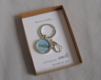 We Are So Lucky To Have An Uncle As Cool As You Personalised Gift Key Ring and Card