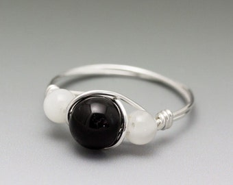 Black Onyx & White Moonstone Sterling Silver Wire Wrapped Bead Ring - Made to Order, Ships Fast!