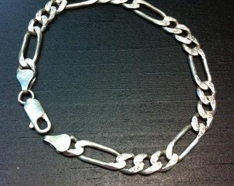 "Vintage Figaro-Style Women's .925 Silver Bracelet 8"" Italy."
