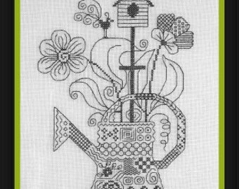 My Watering Can (Mon Arrosoir) – counted cross stitch chart. Monochrome design using black thread. Blackwork. English instructions.