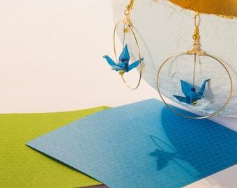Blue origami cranes in kiwi pattern Golden Hoop Earrings