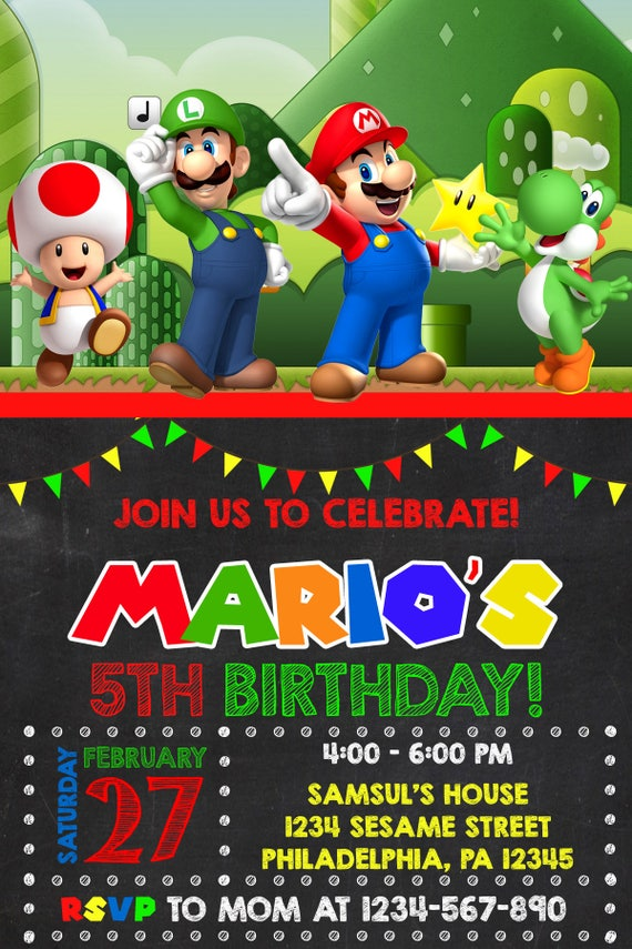 Super Mario invitation Super Mario Party Mario Bros