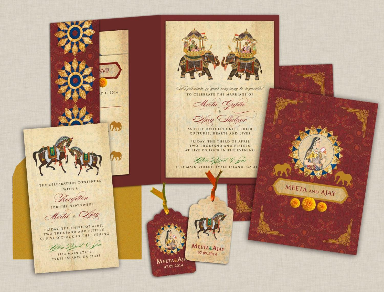 Majestic Mughal Splendor Indian Wedding Invitations