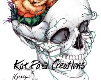 """Flower Skull, Fine Art Print, 8.5""""x11"""", Drawing Medical Illustration Wall Art Nurses Doctors Day of the Dead Sugar Skull, Halloween Decor"""