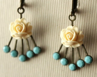 Vintage Swarovski Crystal & Antiqued Brass Deco-style Earrings with Flowers - Turquoise and Ivory