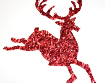 Reindeer Christmas Patch Applique For Iron on Glue On, Santa Claus's reindeer, Rudolph the Red-Nosed Reindeer