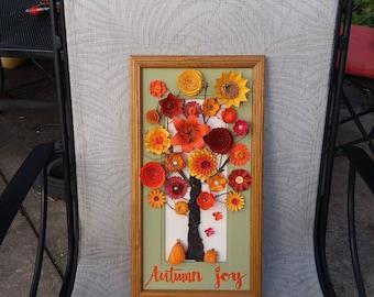 Autumn art, fall art, paper flower autumn tree, Autumn decor, Autumn gift, thanksgiving art, fall foliage, paper flower art, Autumn joy