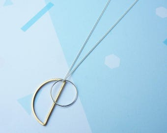 Minimalist Necklace- Simple Silver Gold Necklace - Geometric Necklace - Silver Circle Necklace - Modern Jewellery - Gifts For Her