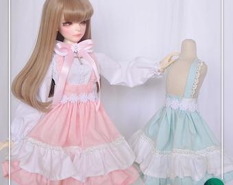 bjd SD 13 MSD 1/4 YOSD 1/6 lolita overall skirt white top shirt pink pastel blue green student school girl anime cosplay japanese