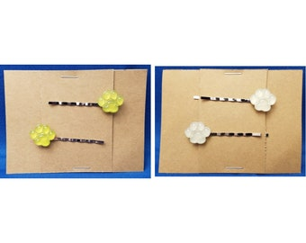 PAW PRINTS Bobby PIn Hair Clip Accessory - Set of 2 Handmade (You choose color)