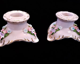 Norcrest China Floral Pink Candlestick Candle Holders, Vintage Japan Taper Candle Holders, Chantilly Pink w Flowers, Mid Century 1950s 1960s