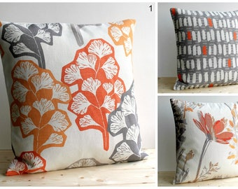 Pillow Cover, Cushion Cover, Pillow Sham, Throw Pillow cover, Pillow Case, 10 Inch, 10x10 - Orange Grey Collection