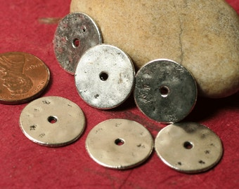 Antique silver tone washer disc drop 16mm in diameter 20g thick, 16 pcs (item ID YDAS3204)
