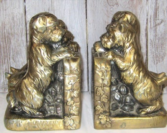 Vintage Metal Spelter Bookends - 3 Puppie Dogs
