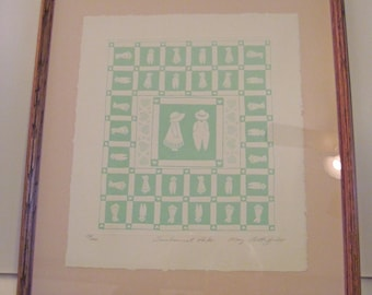 Sunbonnet Pals by Mary Rutherford Embossed Paper Quilt Framed Signed by the artist #20 of 1200