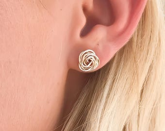 Silver and Gold Rose Stud, Gold Silver Flower Stud, Wire Wrap Earrings,