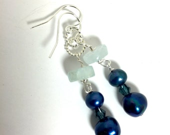 Aquamarine, Blue, Two kinds Pearl, Silver earrings, Lilyb444