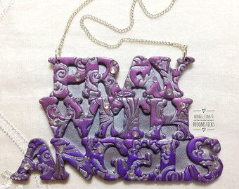 Pray with Angels Handmade Polymer Clay Hanging Plaque/Wall Hanging/Hanging Sign