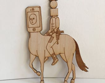 iPhone Centaur wooden figurine