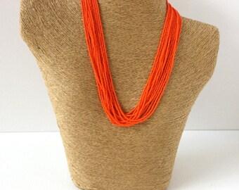 Orange necklace,statement necklace, boho necklace, beaded necklace, seed bead necklace,bridesmaid necklace,summer, wedding jewelry,bohemian