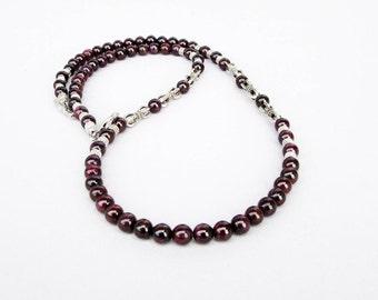 Mens Garnet Necklace, Mens Beaded Necklace, Mens Silver Necklace, Gemstone Necklace, Antique Silver Garnet Necklace, Beaded Jewelry