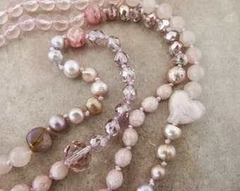 """Long Hand-knotted Bead Necklace, """"Pink Champagne,"""" - Rose Quartz, Pearls, and Crystal Beads - Item 1531"""