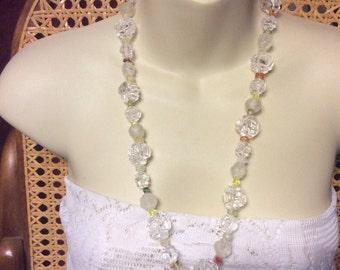 Monet acrylic roses beads beaded necklace. Free ship to US