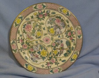 """Beautiful Hand Painted Decorated Plate~ Birds, Flowers 10.5"""" across"""