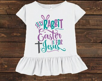 Girls Ruffled Easter Shirt - Toddler Preschool Rabbit Jesus
