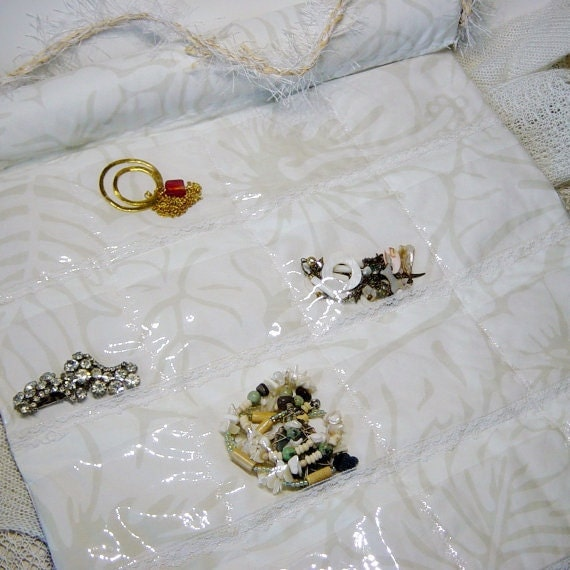 Wall Jewelry Organizer Clear Pocket Storage Organizer White