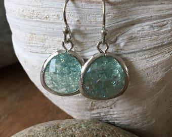Erinite Glass gemstone  Earrings Aquamarine Gemstone Earrings Aquamarine Bridesmaid Earrings march birthstone Silver Erinite Earrings