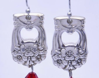Eternally Yours Earrings with Red Beads made from Vintage Silverware