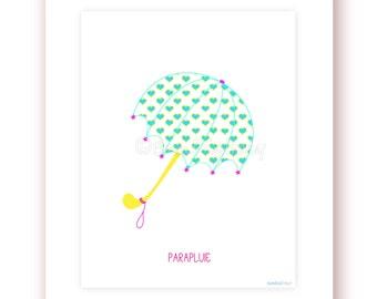 Printable Rain Umbrella Girlie Digital Print Girls Print Girls Room Decor Kids Room Printable Wall Art Children Wall Art Teens Room Decor