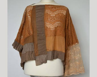 Women's elegant poncho, lace poncho top, loose cape top, plus size poncho, romantic poncho, upcycled, patchwork poncho, asymmetrical poncho