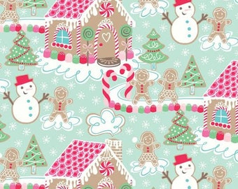 OOP HTF 2 YARDS continuous Sugar Rush Fabric Gingerbread House Candy Christmas Xmas Holiday with Snowmen on Light Blue