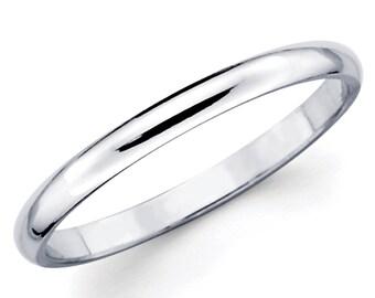 14K Solid White Gold 2mm Plain Wedding Band Ring