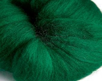 Merino Forest Green Wool Roving 100 grams