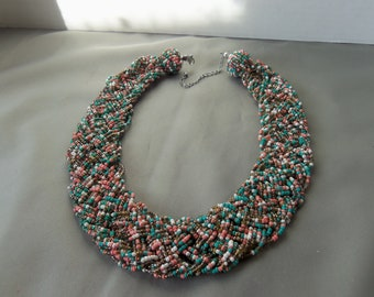 Beaded Neck cuff, Necklace Multi color beads Beaded Necklace, sits flat on top of a sweater or flat on neck(#15)