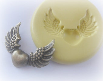 Wings Heart Mold Polymer Clay PMC Fondant Resin Mould DIY Steampunk Gothic Findings