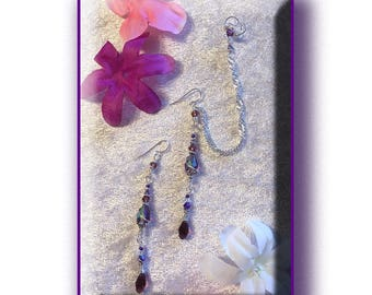 Ear cuff to Earring Set with Purple Swarovski Crystals: Sterling Silver