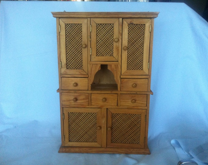 Vintage Doll cabinet Miniature decoration storage all kinds, with wall mount