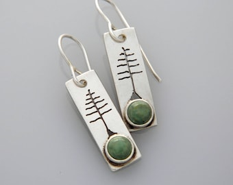 """Silver jewelry, silver tree earrings, nature jewelry """"Solstice Trees"""" earrings with turquoise"""