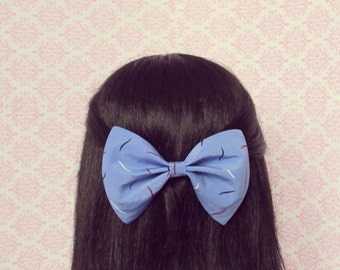 Blue Dappled Party Hair Bow - French Barrette, Teen Girl Hair Bow, Blue Hair Bow, Patterned Hair Bow, Gift for Her