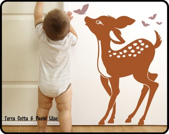 """Baby Deer Wall Decal  - Baby Fawn & Butterflys nursery wall decal Toddlers room decor  23"""" x 34"""""""