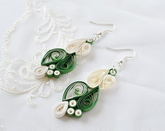 Romantic 1 year anniversary wife, Green and White Earrings, first Anniversary Her, one year anniversary gift,  Made with love Earrings