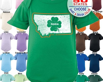 Montana Home State Irish Shamrock Bodysuit - Boys / Girls / Irish / St. Patty's Day
